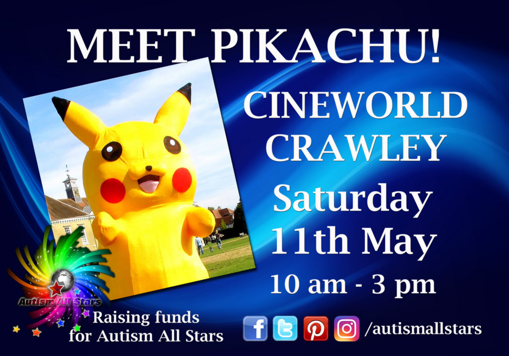 Aspergers, autism, Autism All Stars, autism awareness, characters, charity, cinema, Cineworld, cosplay, diversity, events, sussex, crawley, west sussex, Pokemon, Pikachu