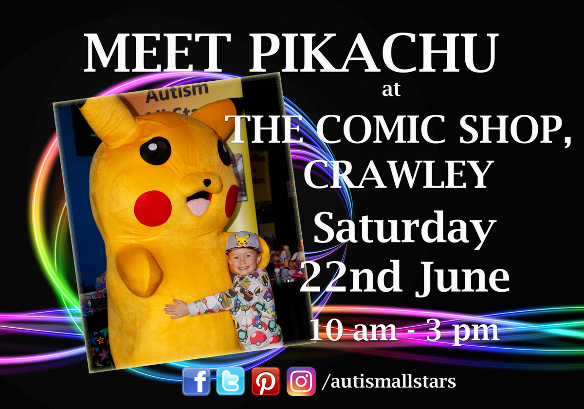 Aspergers, autism, Autism All Stars, autism awareness, characters, charity, The Comic Shop, cosplay, diversity, events, sussex, crawley, west sussex, Pokemon, Pikachu