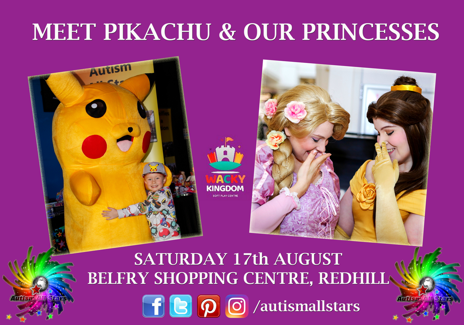 Aspergers, autism, disability, diversity, parenting, special needs, autism awareness, autism acceptance, autism parents, events, autism-friendly, redhill, surrey, belfry shopping centre, Autism All Stars, Pikachu, Princesses