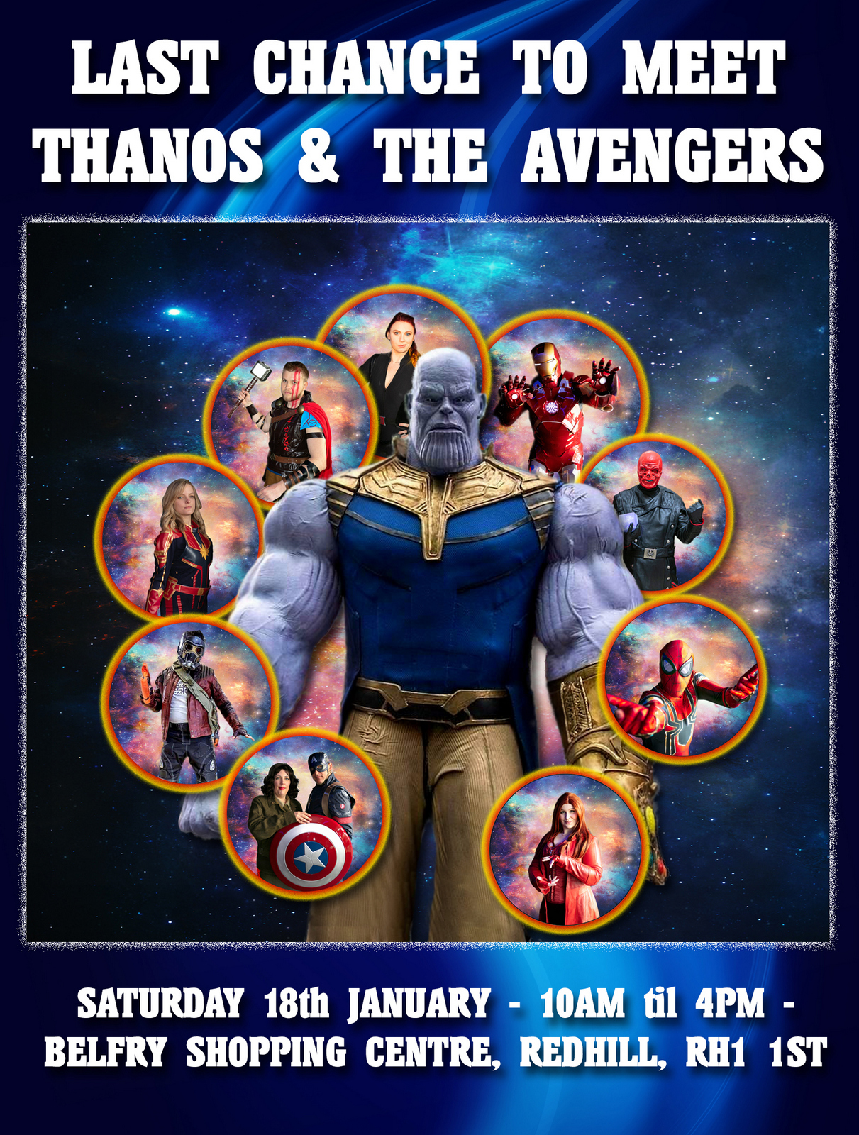 aspergers, autism, autism acceptance, Autism all stars, autism awareness, autism parents, autism-friendly, belfry shopping centre, disability, diversity, events, parenting, redhill, special needs, surrey, Thanos, The Avengers, Marvel cosplay, MCU,