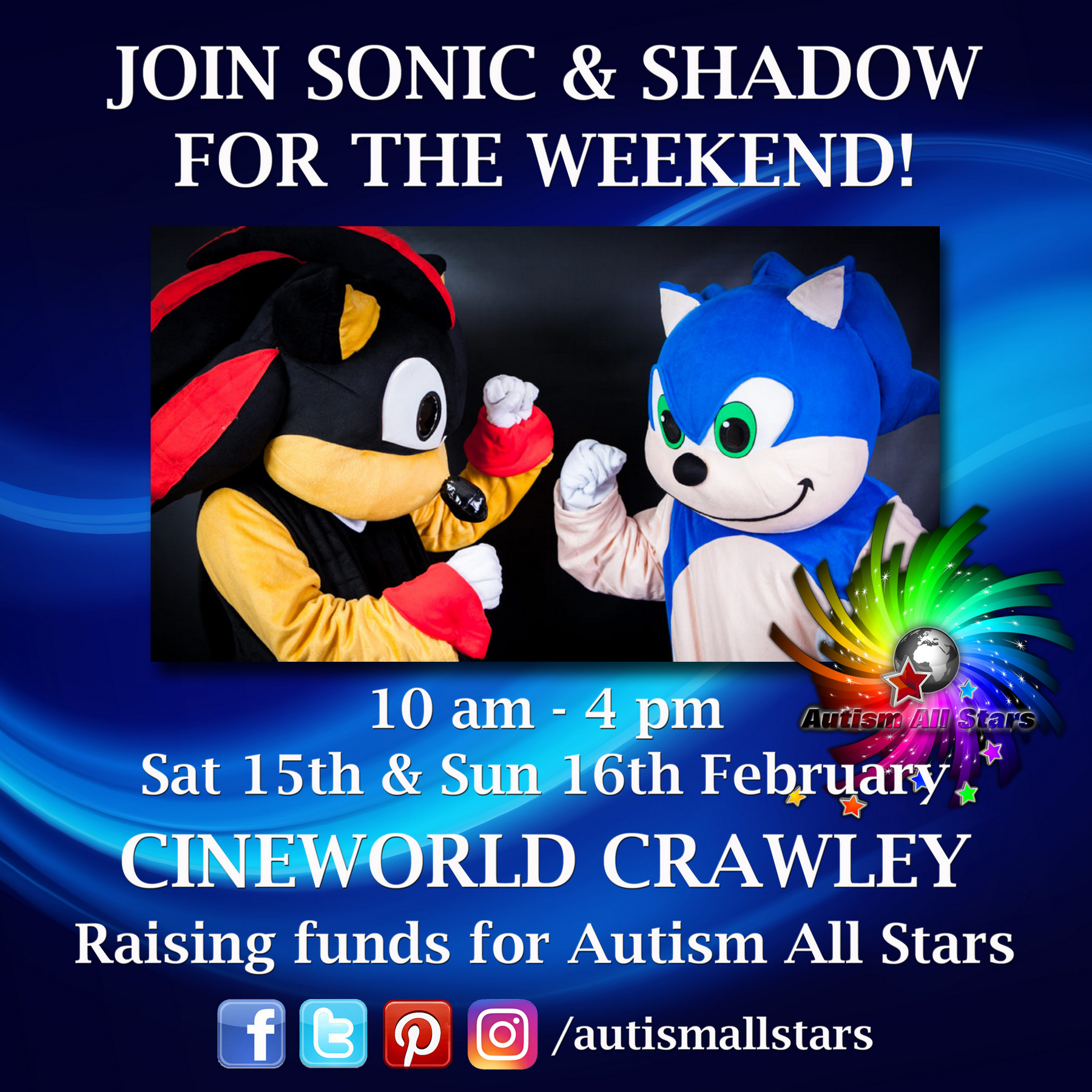 Aspergers, autism, Autism All Stars, autism acceptance, characters, charity, Cineworld, cosplay, diversity, events, family days out, autism friendly, Sussex, Crawley, West Sussex, Sonic the Hedgehog,
