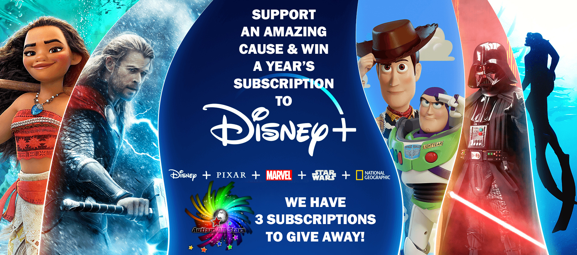 Aspergers, autism, Autism All Stars, autism awareness, charity, diversity, Surrey, Sussex, south east, UK, England, Disney Plus, raffle, Disney+, fundraising