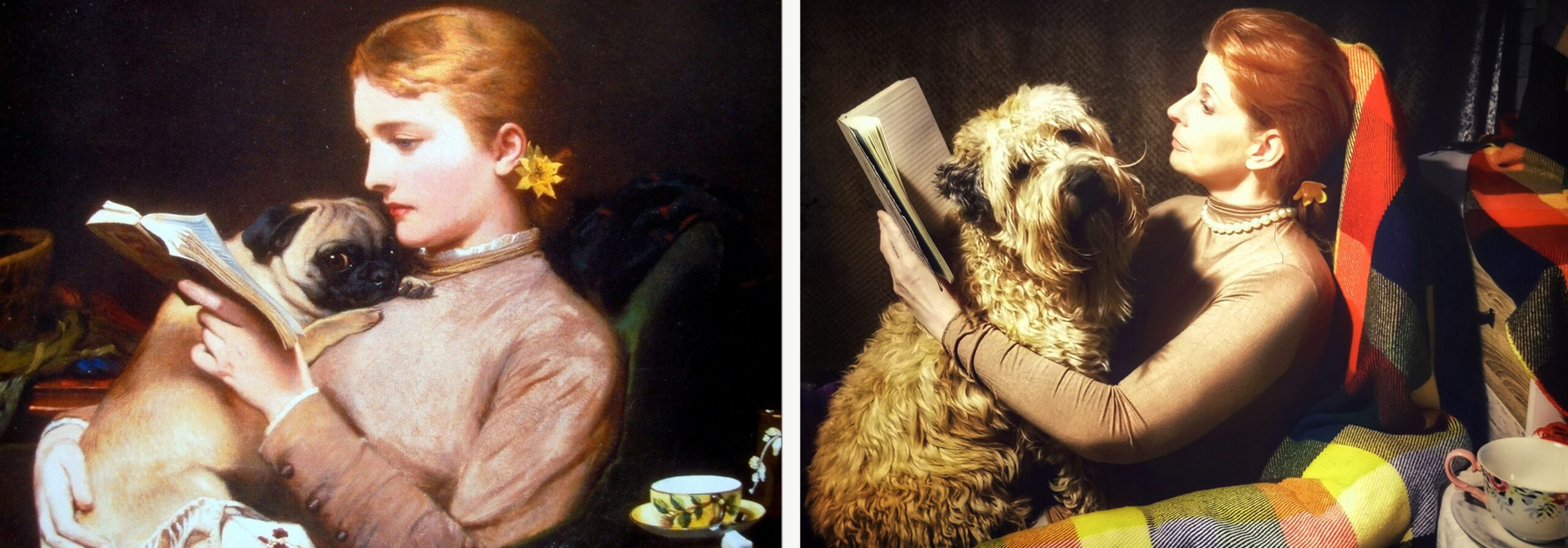 Girl Reading and a Pug / Woman Reading and a Wheaten