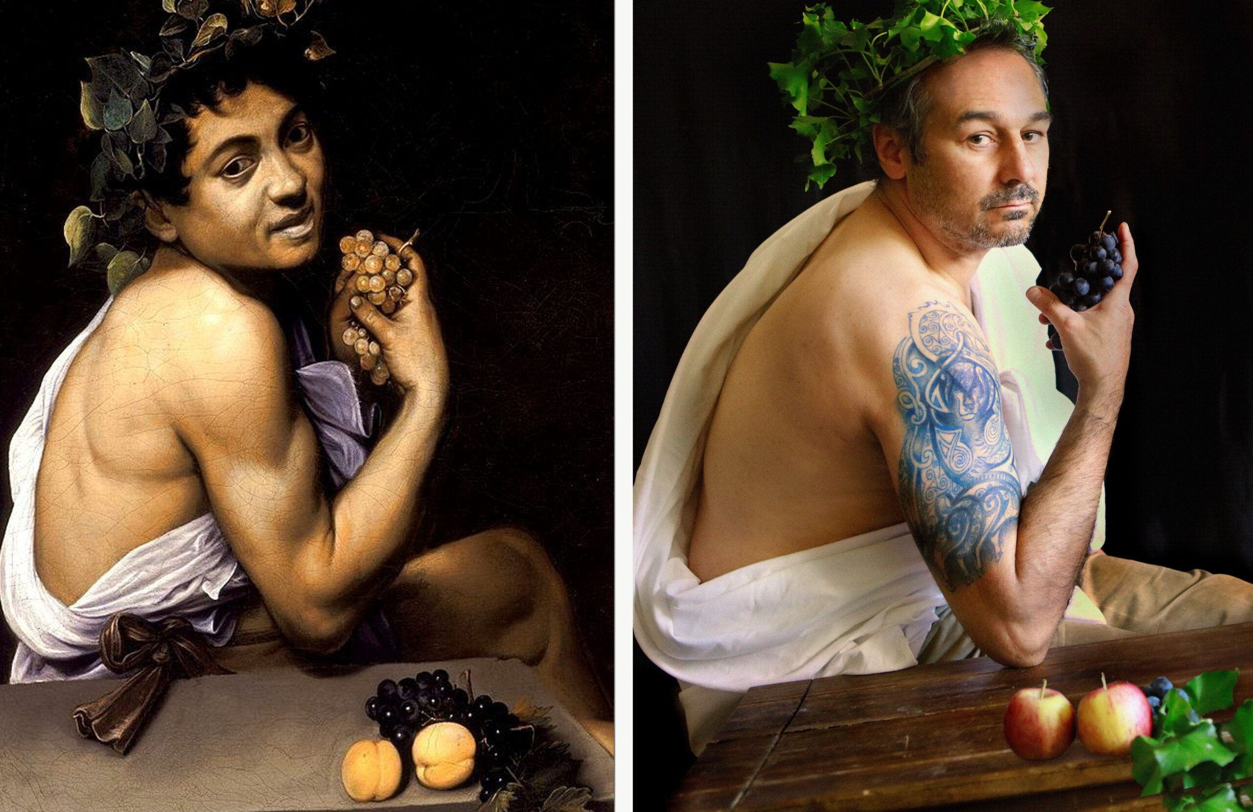 Bacchus by Caravaggio / Back Off by Nigel Wallace-Iles