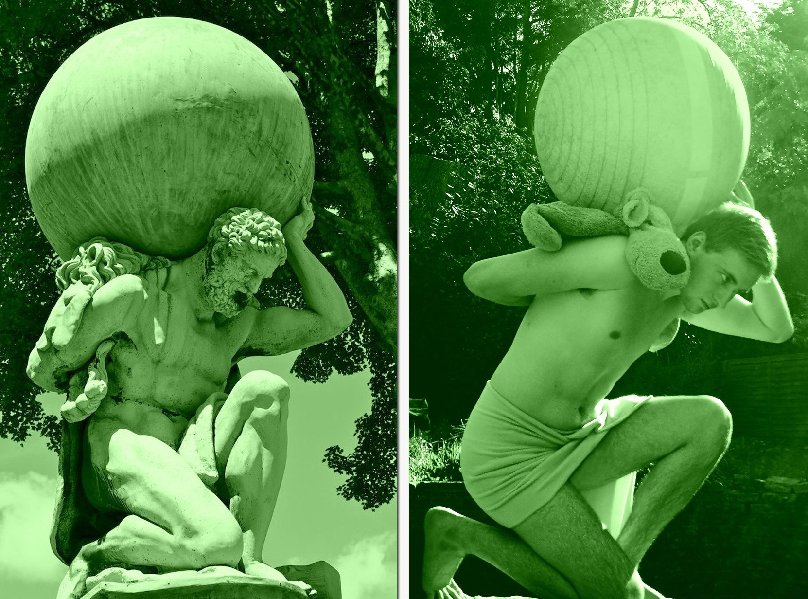 Statue of Hercules Carrying the World / Statue of Aidan Carrying the Yoga Ball