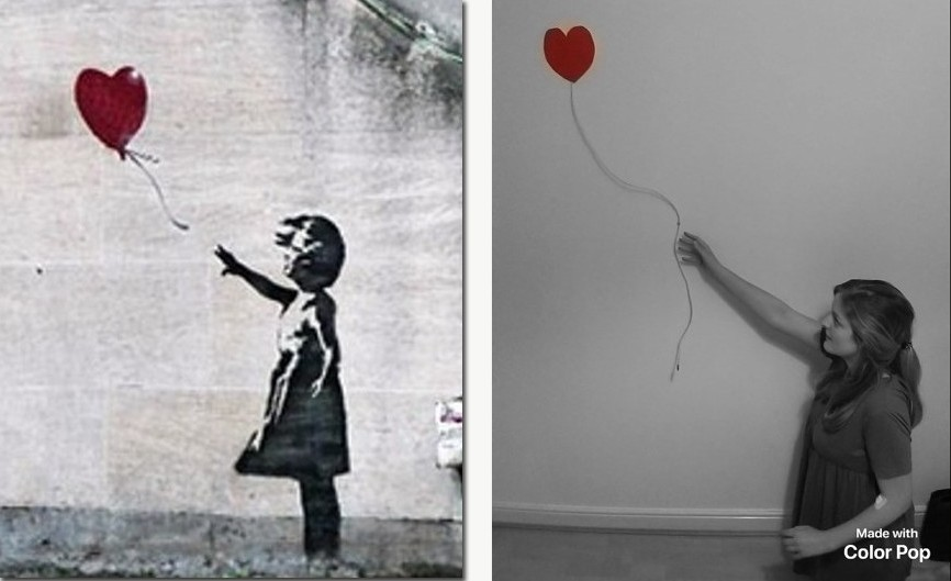 Girl with Balloon - Banksy / Woman with Balloon - Georgie Buswell