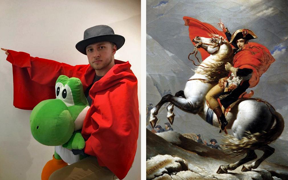 Napoleon Crossing the Alps / Mario Crossing the Lounge